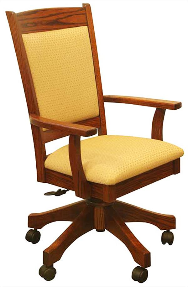 Amish Furniture Handmade Fabric Seat & Curved Back Desk Chair, height adjustable with full Lumber Support.