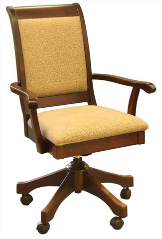 Amish Furniture Handmade Fabric Seat & Curved Back Arm Desk Chair, height adjustable with full Lumber Support.
