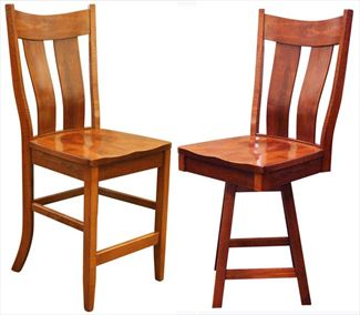 Amish Dual Slat Back Dining & Kitchen Bent BACK Bar Stool furniture oak Lumbar Support back arm