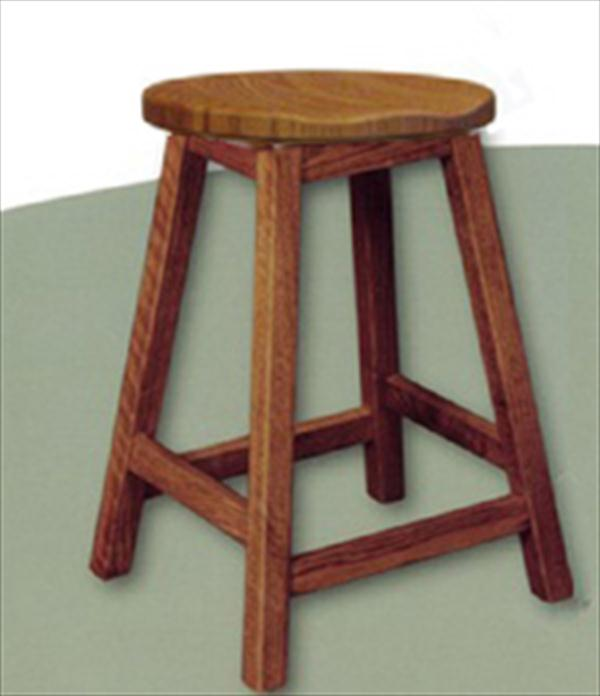 Amish Scoop Seat Swivel Bar Stool Amish Furniture Mission Oak or Cherry or Brown Maple or QS Oak or Hickory Swivel Stool