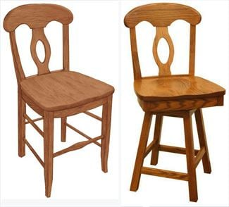 Amish Circle Top BackOval Back Dining & Kitchen BACK Bar Stool furniture oak Lumbar Support back arm Bar Stool chair