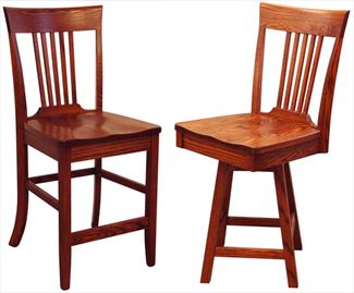 Amish Shaker Five SLAT Back Dining & Kitchen BACK Bar Stool furniture oak Lumbar Support back arm Bar Stool chair