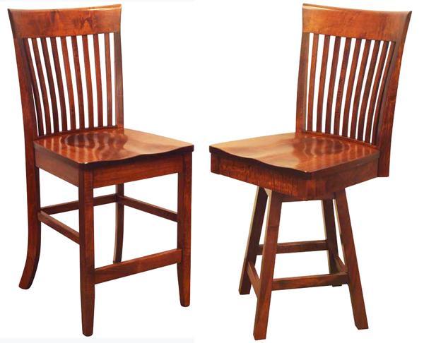 Amish SHAKER Bent Paddle Back Dining & Breakfast Kitchen Bent BACK Bar Hardwood Stool Lumbar Support back arm