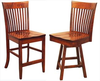 Amish SHAKER Bent Paddle Back Dining & Breakfast Kitchen Bent BACK Bar Hardwood Stool Lumbar Support back arm
