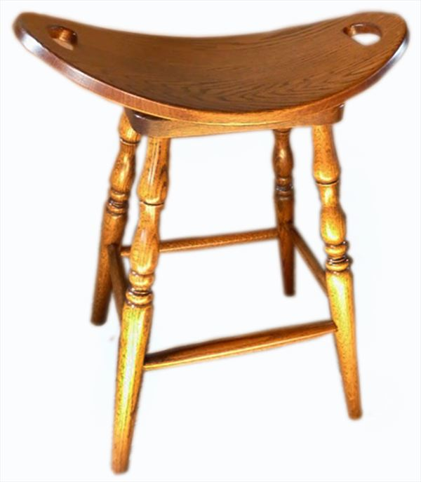Amish Fancy Leg Swivel Stool Amish Furniture Oak or Hard Maple or Hickory Swivel Saddle Stool