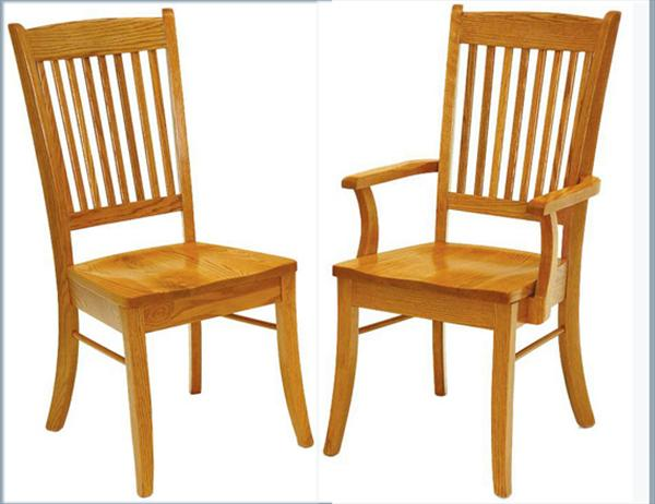 Amish Handmade Hardwood Chairs-Multiple Slat Back Shaker Curved Leg Arm & Side Chairs