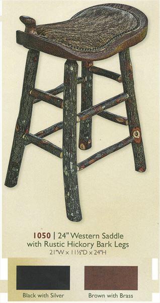 Amish Rustic Hickory  Western Saddle Barstool Custom Sizes