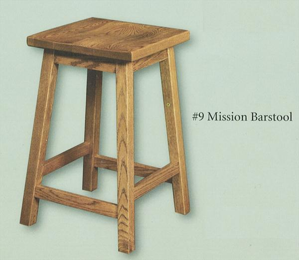 Amish Square Scoop Seat Bar Stool Amish Furniture Mission Oak or Cherry or Brown Maple or QS Oak or Hickory Stool