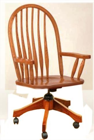 Amish Furniture Paddle Bent Back Oak Desk Chair Leather Seat Optional