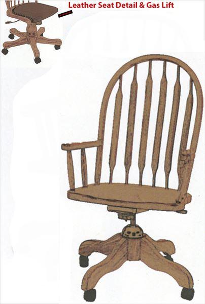 Amish Furniture Jumbo Bent Paddle Back Oak Desk Chair Leather Seat Optional