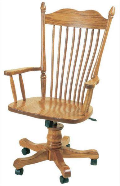 Amish Furniture Hoosier Bent Back Oak Desk Chair Leather Seat Optional