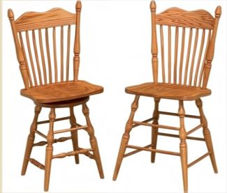 Amish Hoosier Scoop Seat Swivel Bar Stool Amish Furniture Oak or Cherry or Brown Maple or QS Oak or Hickory Swivel Stool
