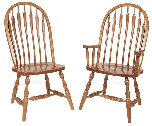 Amish Kitchen/Dining Chair Bent arrow Hardwood Solid Wood Handmade Oak Fancy Leg Side or Arm Chair