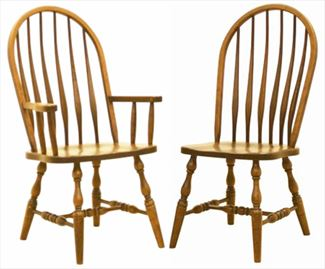 Amish Kitchen/Dining Chair Bent FEATHER Hardwood Solid Wood Handmade Oak Fancy Leg Side or Arm Chair