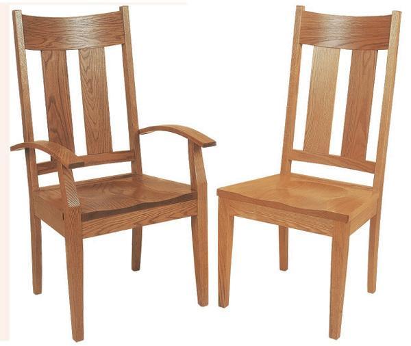 Amish Handmade Hardwood Chairs-two Slat Bent Back Modern Tapered Leg Arm & Side Chairs