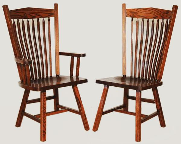 Amish Furniture Post Mission Hardwood Solid Wood Handmade Oak Side Or Arm  Chair