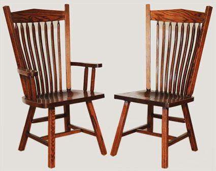 Amish Furniture Post Mission Hardwood Solid Wood Handmade Oak Side or Arm Chair