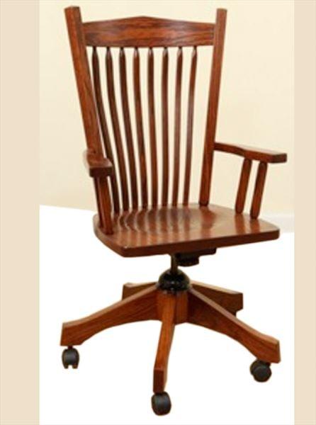 Amish Furniture Post Mission Back Oak Desk Chair Leather Seat Optional