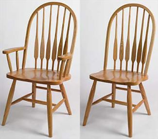 Amish Kitchen/Dining Chair FEATHER Hardwood Solid Wood Handmade Oak Fancy Leg Side or Arm Chair