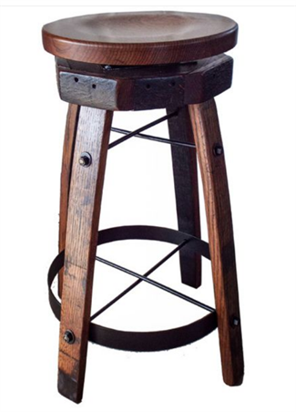 Rustic Barrel Swivel QSWO Furniture Bar Stool without Back