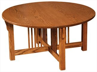 Prairie Mission ROUND Coffee Table Amish Oak or Cherry Table & Hardwoods