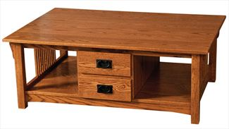 Prairie Mission Coffee Table Middle Drawers Amish Oak or Cherry Table & Hardwoods