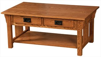 Prairie Mission Coffee Table SIDE-by-SIDE Drawers Amish Oak or Cherry Table & Hardwoods