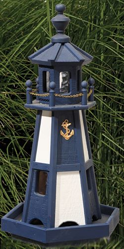 Amish Lighthouse Bird Feeder Threaded Post Mount and Painted