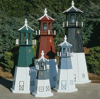 Amish OUTDOOR LIGHTHOUSE 18 in to 5 Foot Handcrafted BARNEGAT-TREATED Wood Painted