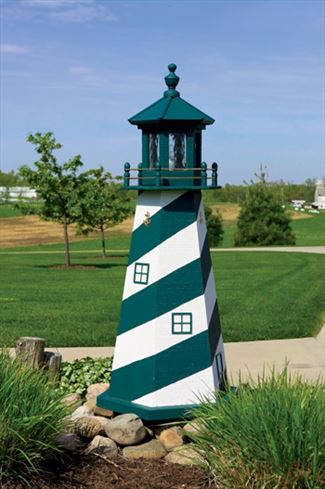 Amish OUTDOOR LIGHTHOUSE 18 inch to Five Foot Handcrafted Cape Hatteras-Green-White Wood Painted