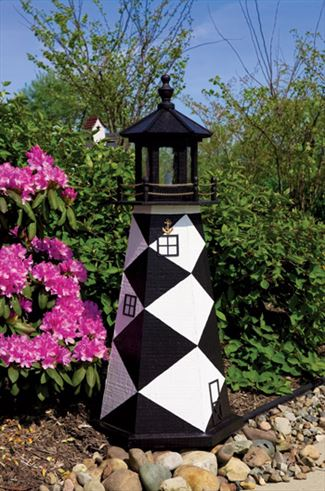 Amish OUTDOOR LIGHTHOUSE 18 inch to Five Foot Handcrafted Cape Lookout Black-White Wood Painted