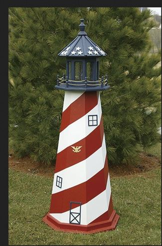Amish OUTDOOR LIGHTHOUSE 18 inch to Five Foot Handcrafted Cape Hatteras-Red-White-Blue-Wood Painted