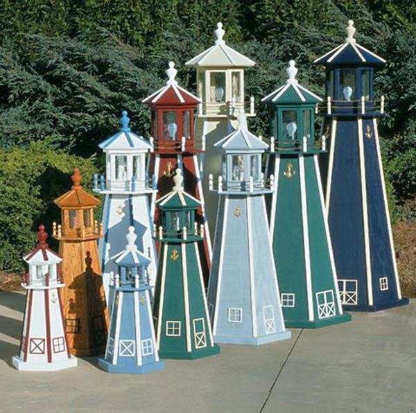 amish outdoor lighthouse 18 in to 5 foot handcrafted standard treated wood painted - Amish Lighthouse Plans