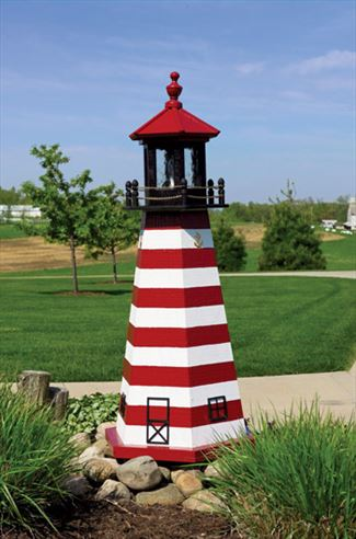 Amish OUTDOOR LIGHTHOUSE 18 inch to Five Foot Handcrafted West Quoddy Head Wood Painted