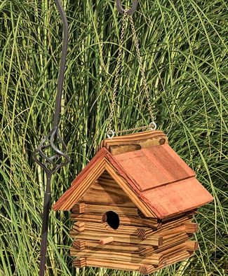 Amish Rustic Log Cabin Bird House with Cedar Roof Clear Finish wood hand crafted