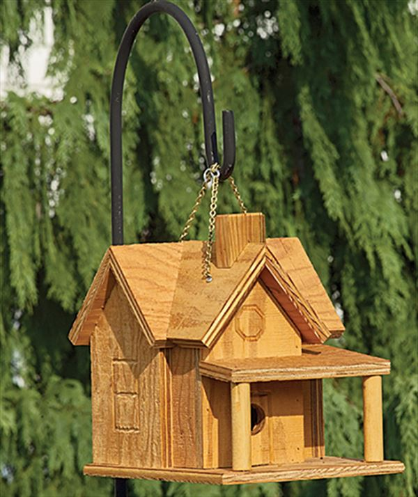 Amish Rustic Porch and Chimney Bird House Clear Finish wood hand crafted construction