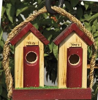 Amish His-Hers Rustic Wood Bird House .