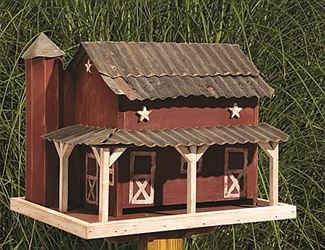 Amish Barn Bird Thistle and Seed Feeder Post Mount Rustic and Cedar