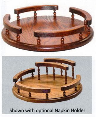 Amish Oak Handmade Lazy Susan 14 or 12 inch Optional Napkin Holder