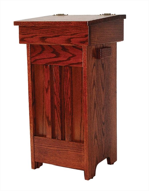 MISSION Wood Kitchen Trash Cans Amish Oak Hinge Top 13 gal. Trash Can