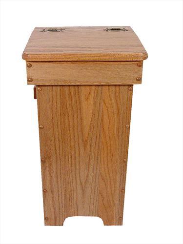 Wood Kitchen Trash Cans Amish Oak Hinge Top 13 gal. Trash Can