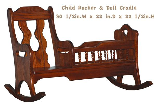 Amish Child Handmade Rocker And Doll Cradle   All Hardwood