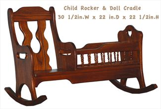 Amish Child Handmade Rocker and Doll Cradle - All Hardwood
