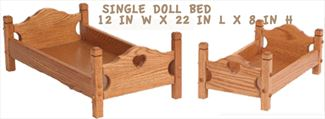 Amish Child Handmade All Wood DOLL SINGLE BED - All Hardwood