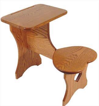 Amish Hardwood OAK Child Desk with Heart Seat