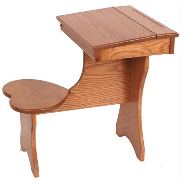 Amish Hardwood OAK Child Desk with Lid Storage & Heart Seat