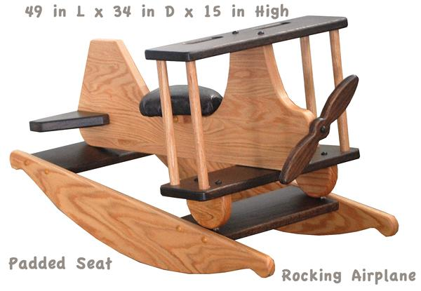 Amish Wooden OAK Two Tone Stained Hardwood Padded Seat AIRPLANE-Hand Crafted wooden rocking toy