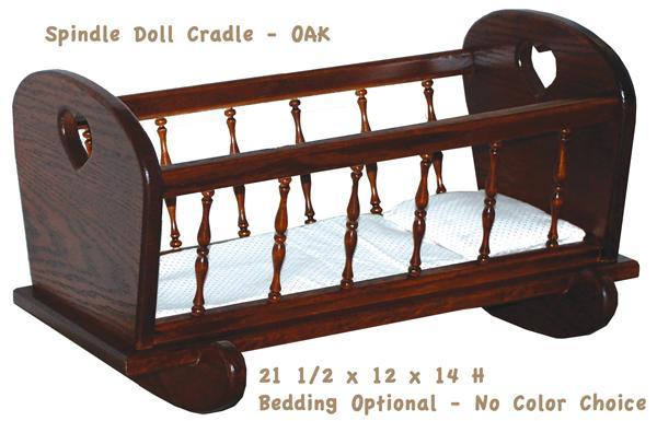Amish DOLL Handmade All Wood SPINDLE DOLL CRADLE - All Hardwood