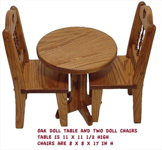 Amish DOLL TABLE AND TWO CHAIRS - Handmade All Wood - All Hardwood