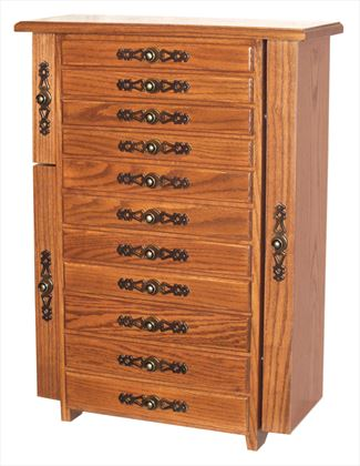 Jewelry Chests, Amish Jewelry Boxes, Eleven Drawer 2 Sides OAK Fancy Hardware